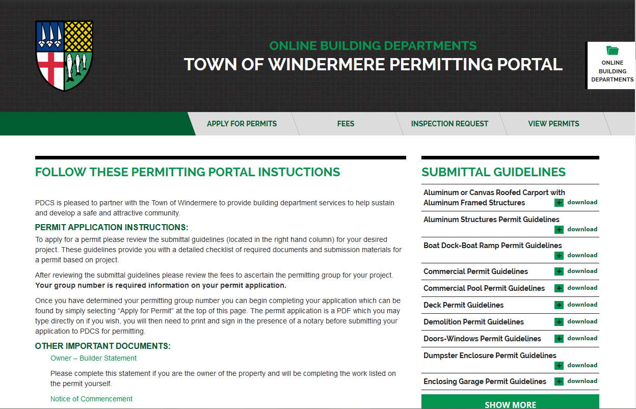 Screenshot of website showing the town of Windermere's permitting portal