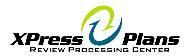 Two green and blue arrows forming a circle with the words XPress Plans Review Processing Center around it in black