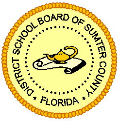 A yellow circle with a genie bottle inside of it and the words District School Board of Sumter County, Florida in black wrapping around the inside of the circle